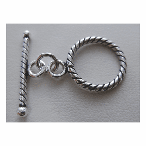 Fancy Detail Toggle - 19mm Circle w/ 30mm Bar - 6 Clasps - .999 Silver Over Copper