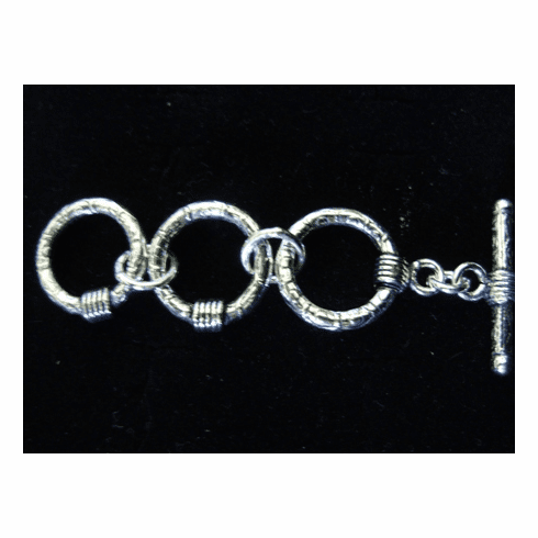 Fancy Detail Toggle Extender - 16mm Circle w/ 24mm Bar - 2 Extenders - .999 Silver Over Copper