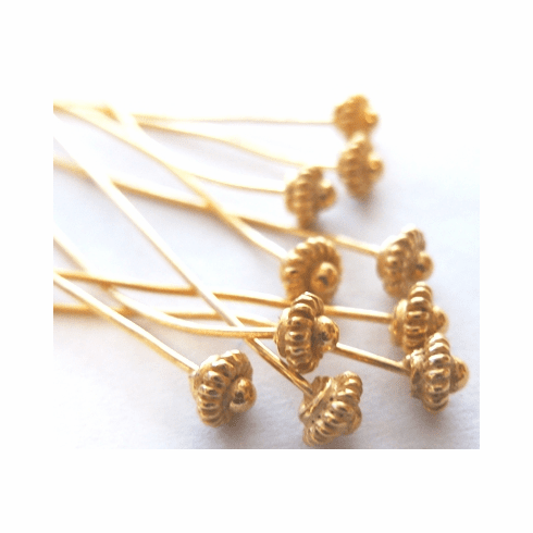 Fancy Flower Head Pin 5mm 38 Pieces 24Kt. Gold Over Copper