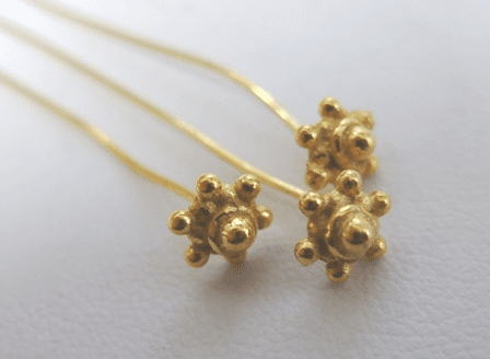 """Fancy Head Pin 2.5"""" - 7mm - 22 Pieces - 24Kt. Gold Over Copper"""