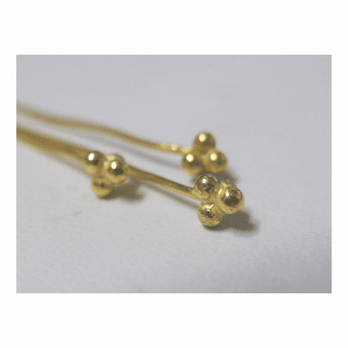 Fancy head Pin - 2mm - 41 Pieces - 24Kt. Gold Over Copper