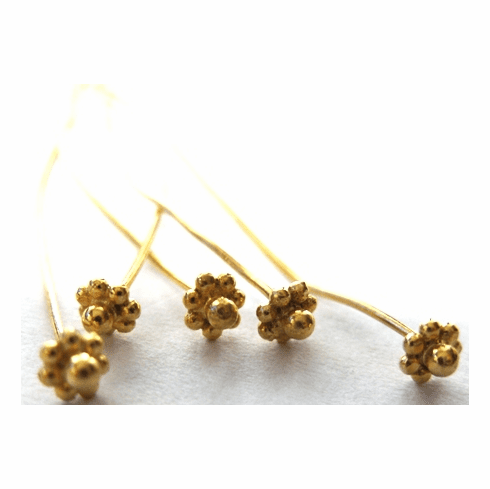 Fancy Head Pin - 4mm - 40 Pieces - 24Kt. Gold Over Copper