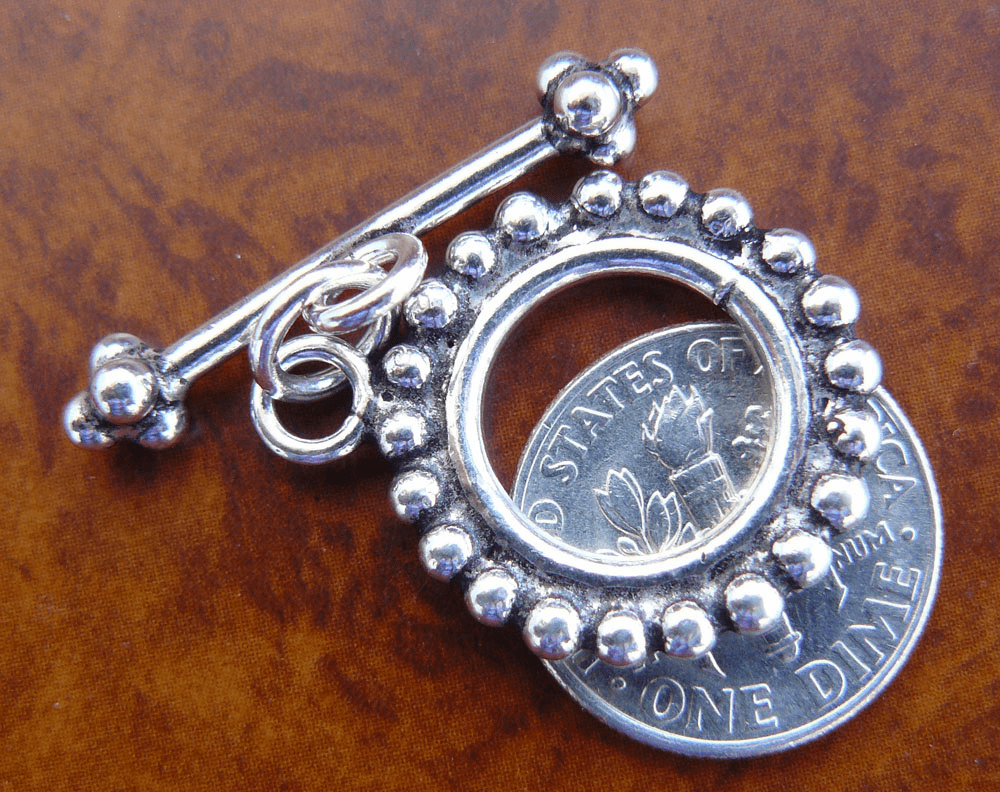 Fancy larger 20mm toggle with granulation  925 Sterling silver