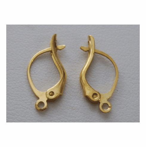 Fancy Lever Back Ear Wire - 8x14mm - 12 Pairs - 24kt. Gold Over Copper