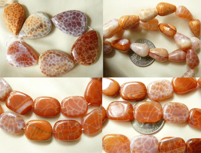 Fire Agate Beads Unique Snake skin design