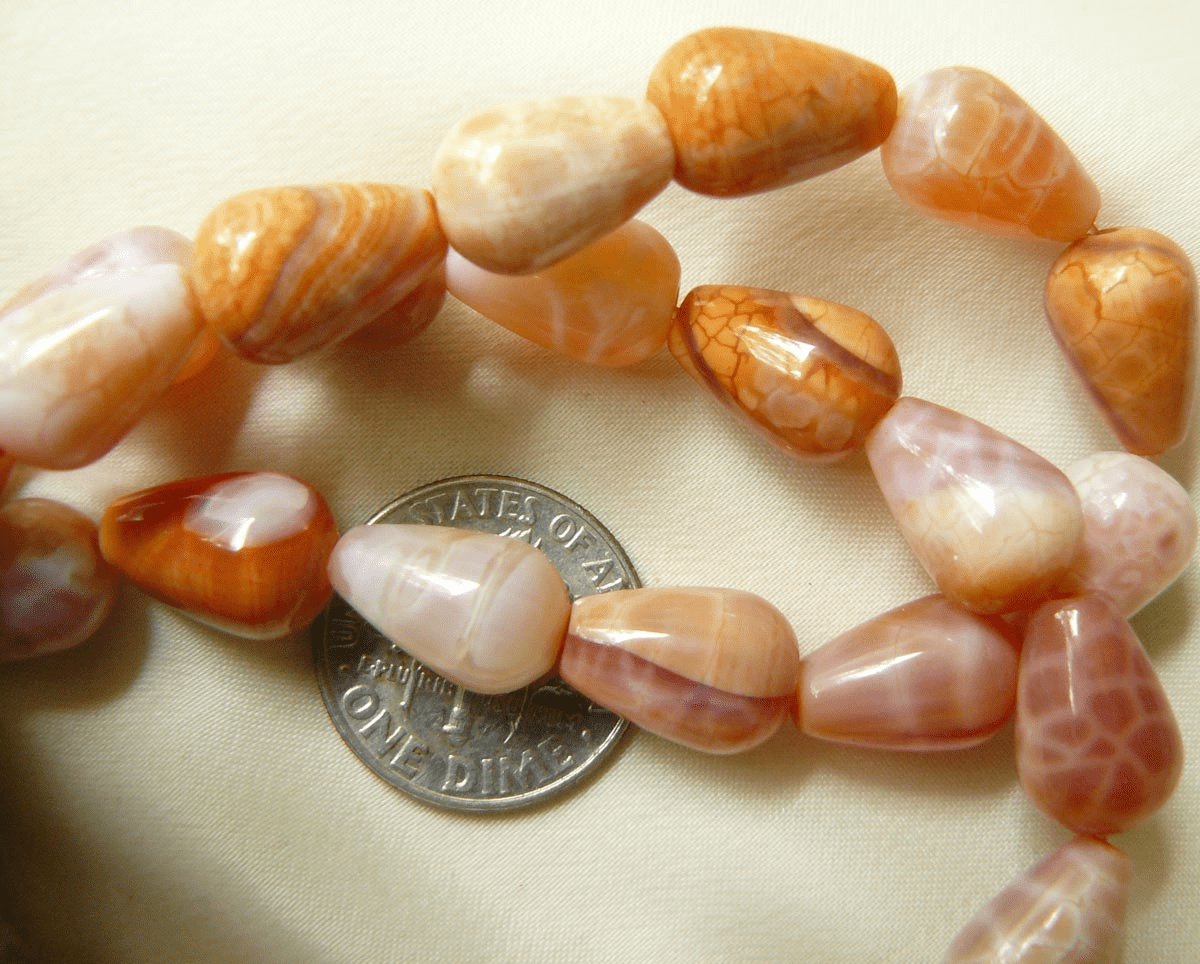 """Fire Agate Rounded Drops 12x8mm 16"""" Strands"""