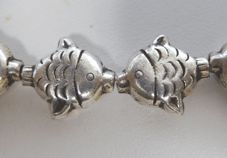 Fish Bead - 16mm - 12 Beads - .999 Silver Over Copper<br>SCBK90