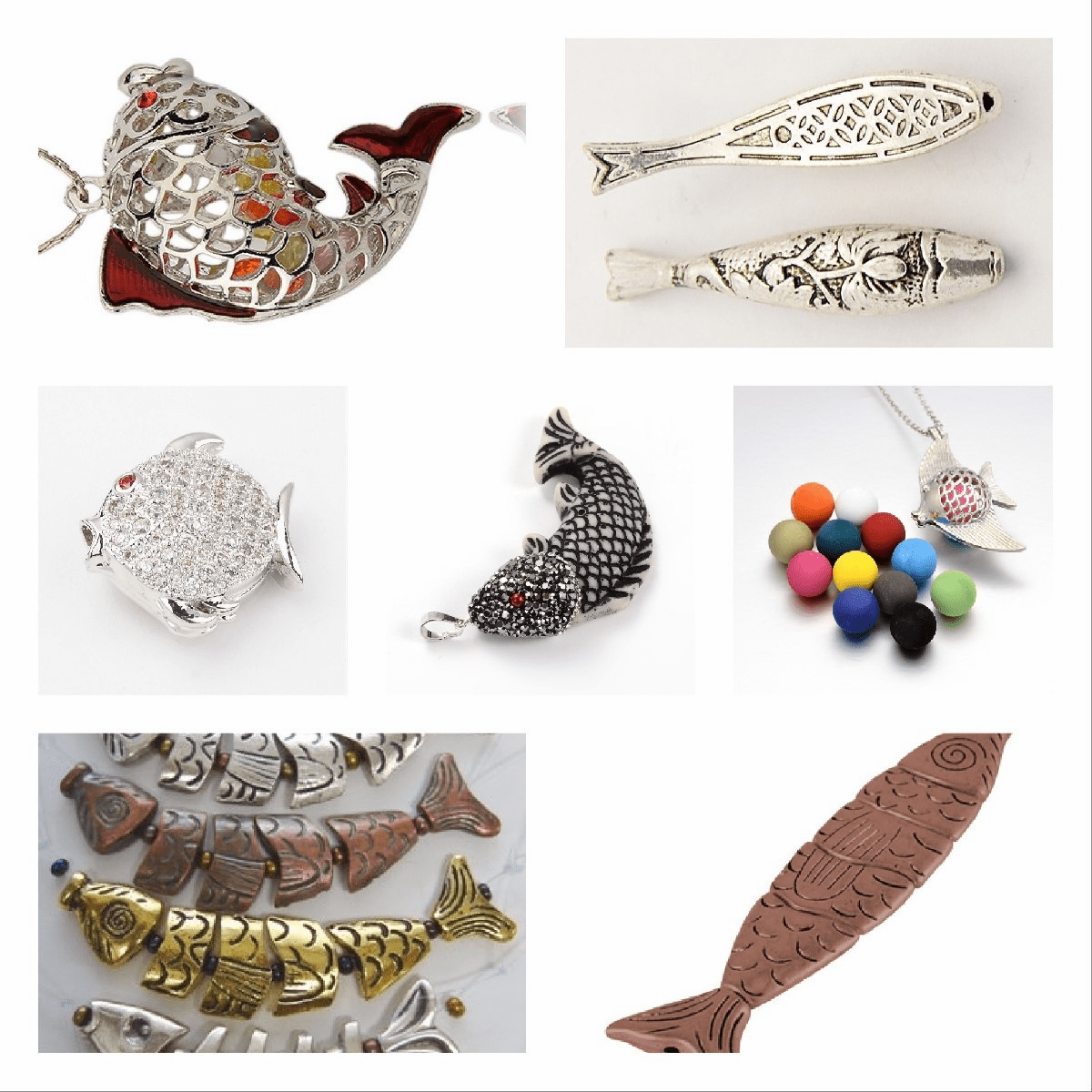 Fish Beads, Segmented worry fish, cage fish, pendant fish