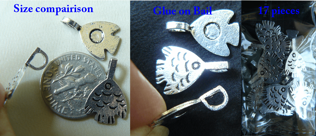 Fish Glue-On Bail - 11x15mm - 17 Pieces - .999 Silver Over Copper