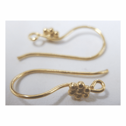 Fish hook Ear Wire with Flower - 22 ga. - 10 Pairs - 24Kt. Gold Over Copper