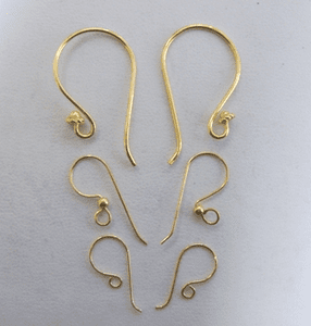Fish Hook Ear Wires - 24kt. Gold Over Copper