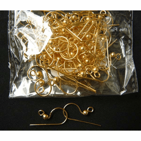 Fishhook Ear Wire with Ball 24 ga. 24KT Gold Over Copper 30 Pairs