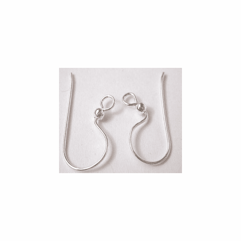 Fishhook Ear Wire with Ball - 25 Pairs - 10x20mm - .999 Silver Over Copper