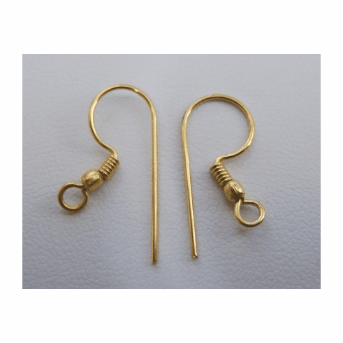 Fishhook Ear Wire with Coil and Ball - 22 ga. - 18 pairs - 24Kt. Gold Over Copper