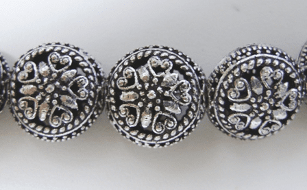 Flat Round Hollow Bead 17mm 4 Beads .999 Silver Over Copper<br>SCBK4-4