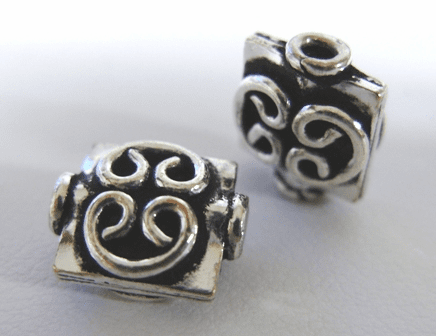 Flat Square Bead with Detail - 10mm - 18 Beads - .999 Silver Over Copper<br>SCBK31B