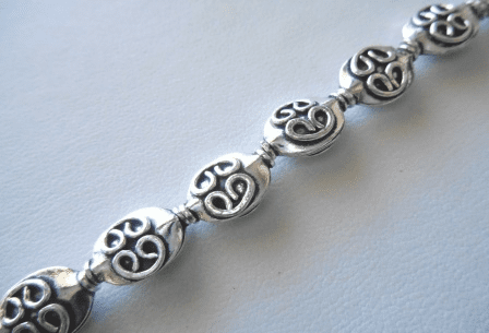 Flat Wafer Bead with Detail - 9x13mm - 16 Beads - .999 Silver Over Copper<br>SCBKSP83