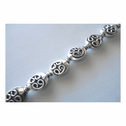 Bead with Celtic Style Detail  9x13mm .999 Silver Over Copper SCBKSP83