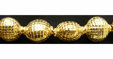 Flat Waffle Pattern Bead - 10x13mm - 14 Beads - 24Kt. Gold Over Copper<br>GCBK506
