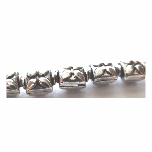 Flower Detail Bead - 7x9mm - 22 Beads - .999 Silver Over Copper<br>SCBK77