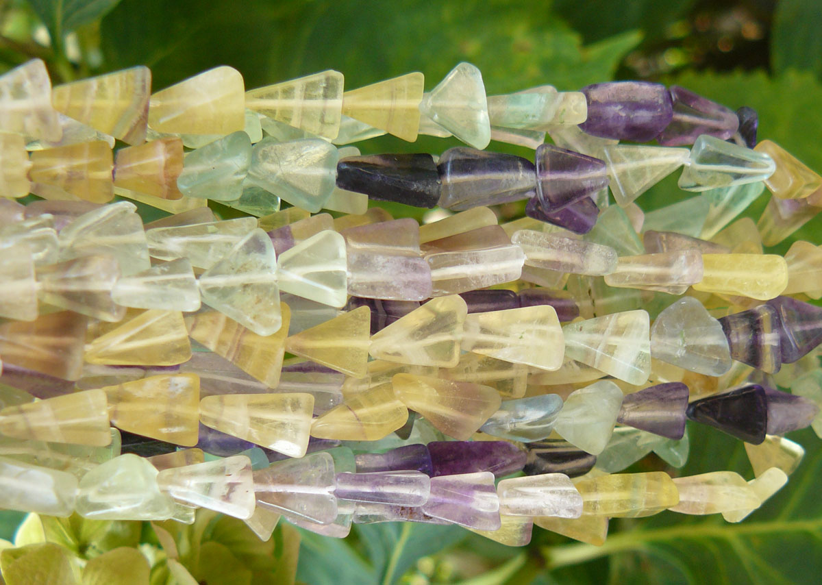 Fluorite arrow head shaped Multicolor Natural Beads