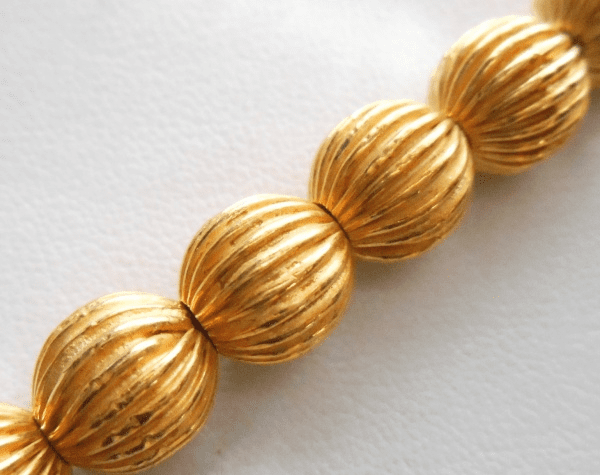 Fluted Bead - 10mm - 15 Beads - 24kt Gold Over Copper<br>GCBK111