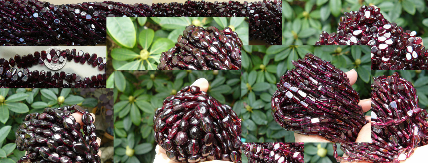 Garnet Beads- Rounds, Drops, Chips