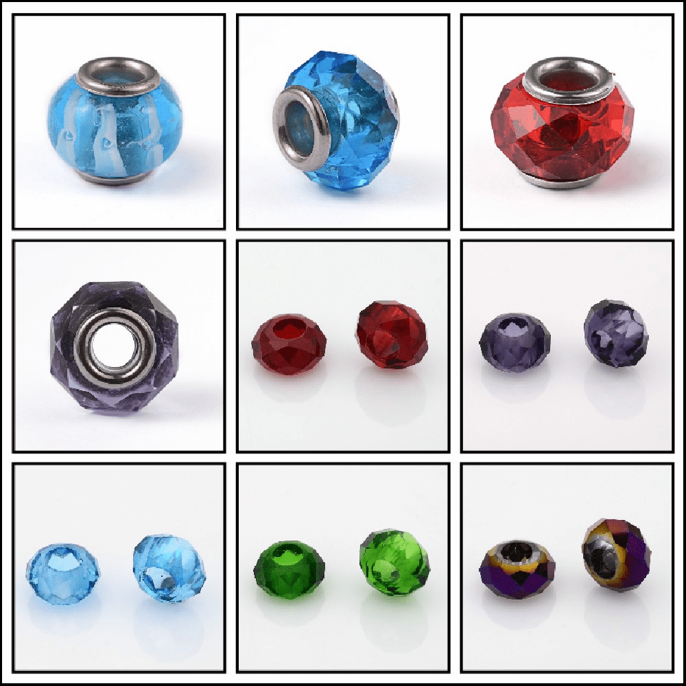 Glass Large Hole Beads many Colors to Choose from