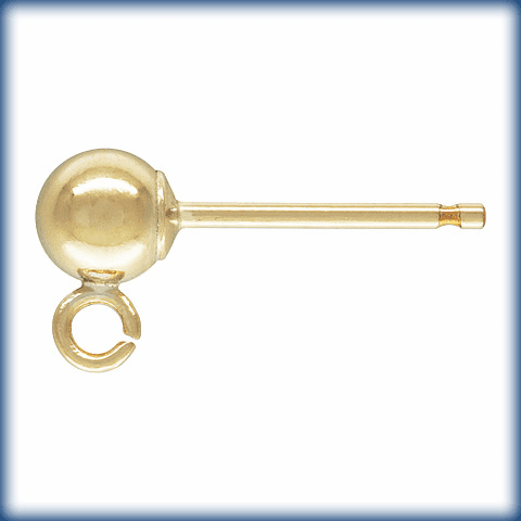 Gold Filled Ball Ear Post with Ring  GF-801-4  3pair (6 Pieces)