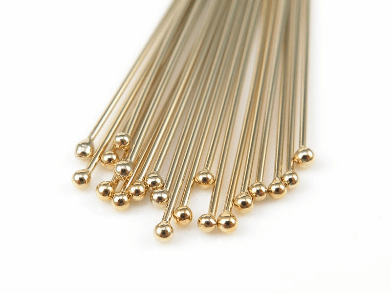 "Gold Filled Ball tip 2"" Head pin 10 pieces 24 Ga."