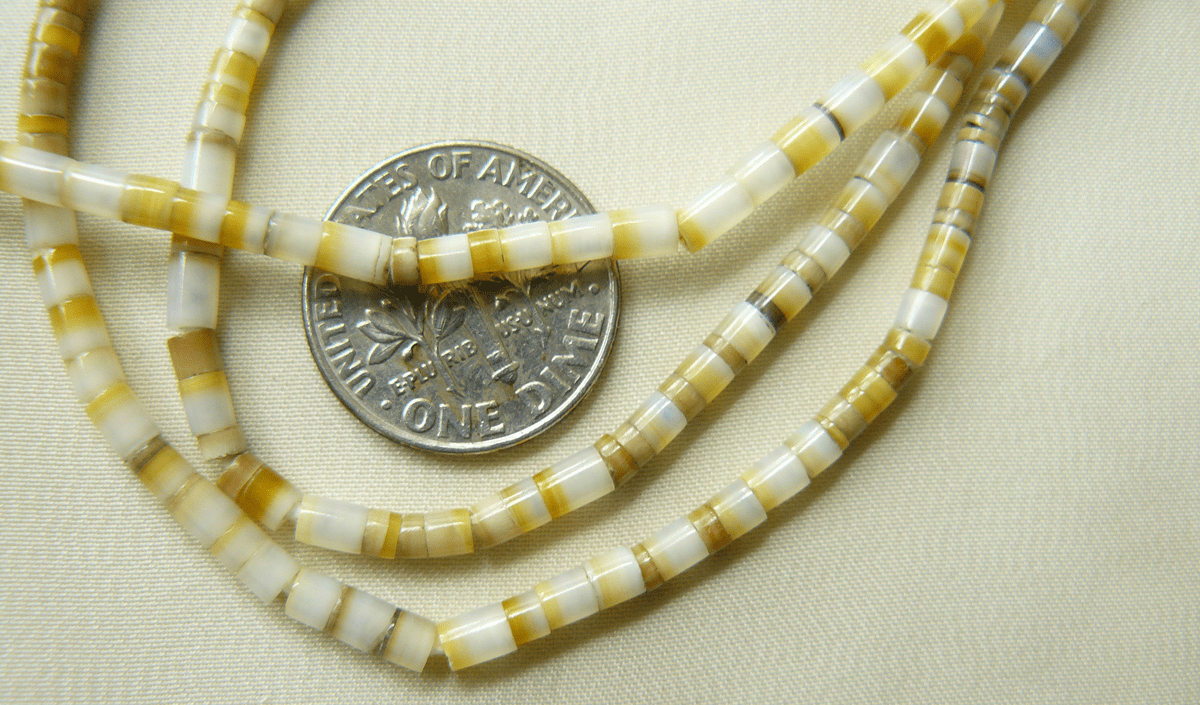 "Gold Lip Mother of Pearl Heishi Beads 3mm 16"" strands"