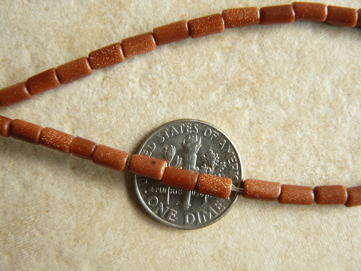 """Gold Stone Tube Beads 3x6mm 16"""" Strands"""