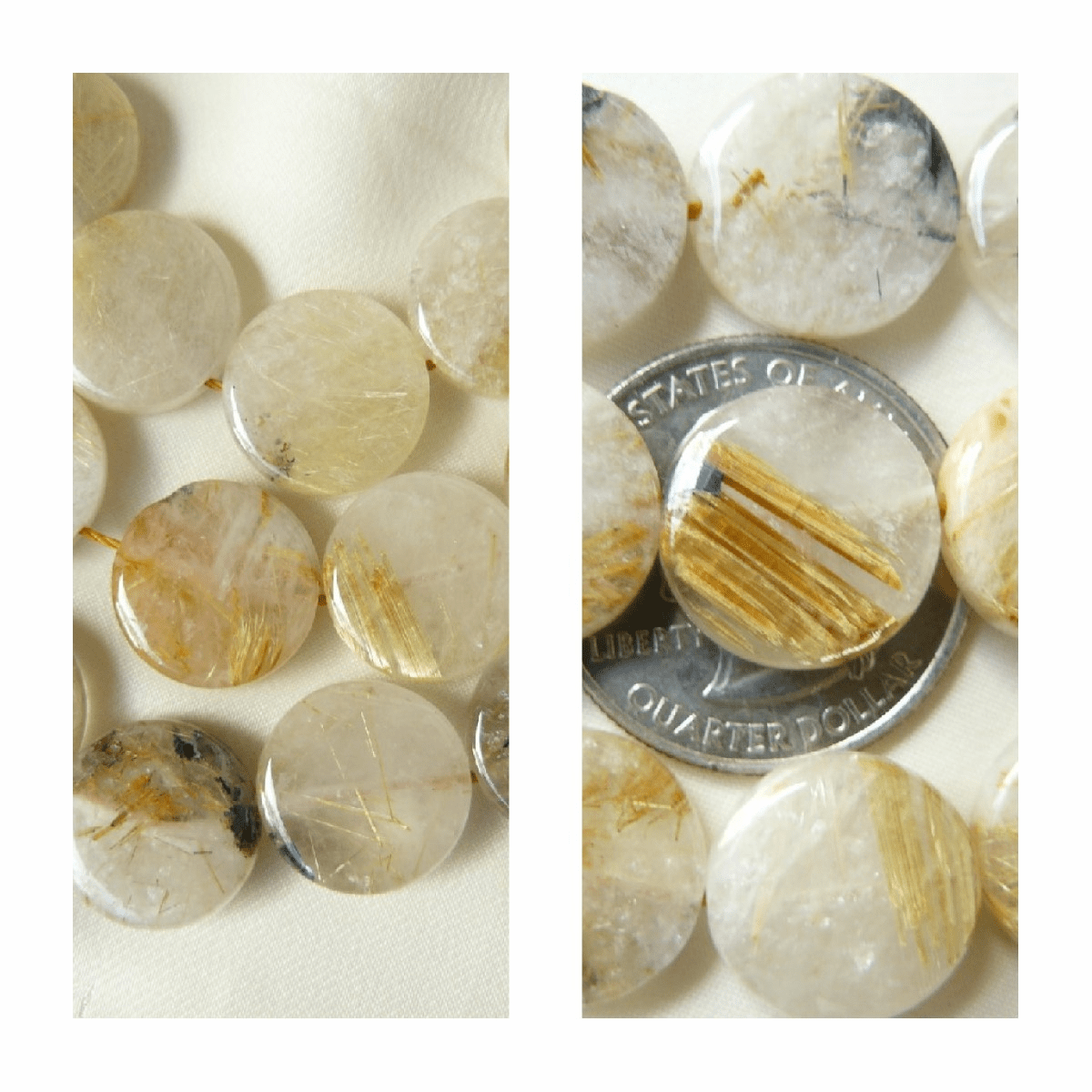"Golden Rutilated Quartz Beads Coin 5x15mm 16"" Strands"
