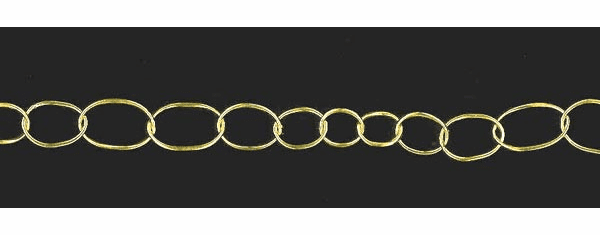 Graduated  11X13mm to 13X21mm to 11X13mm Vermeil Oval Chain
