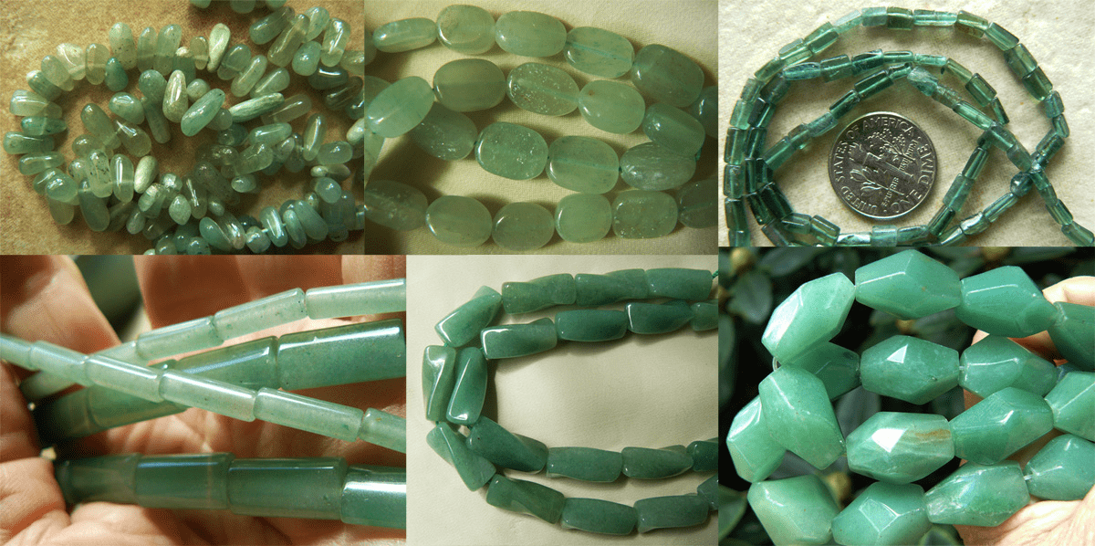 Green Aventurine Beads - Round, Square, Faceted more