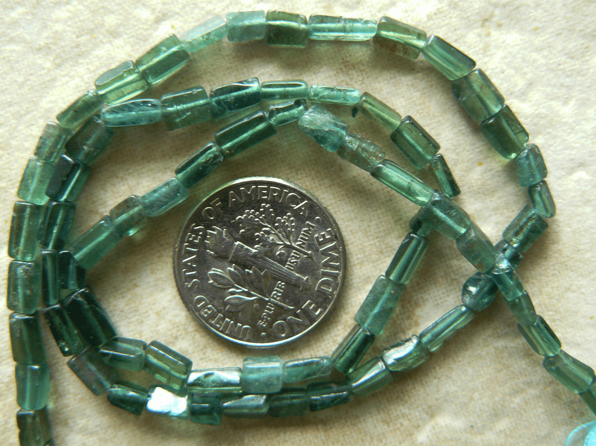 "Green Aventurine Beads small Bricks 2x3 6mm 15"" strands"