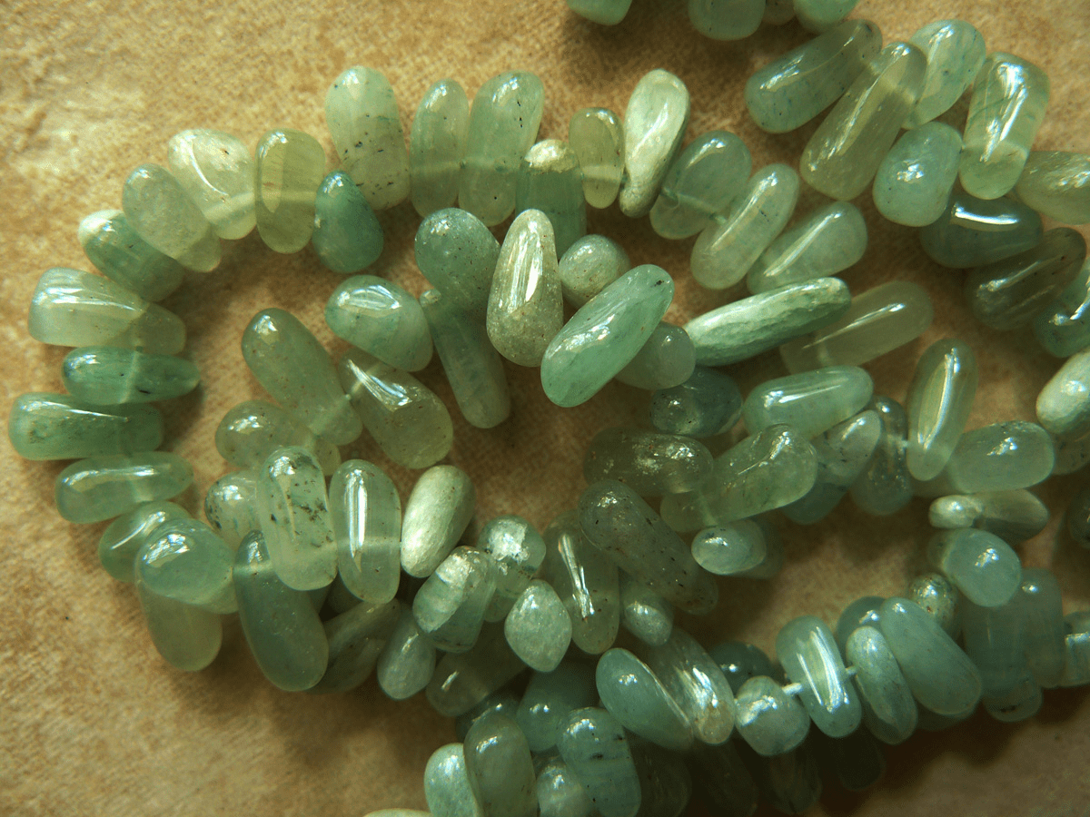 "Green Aventurine drop beads 14"" strand 5x10mm"