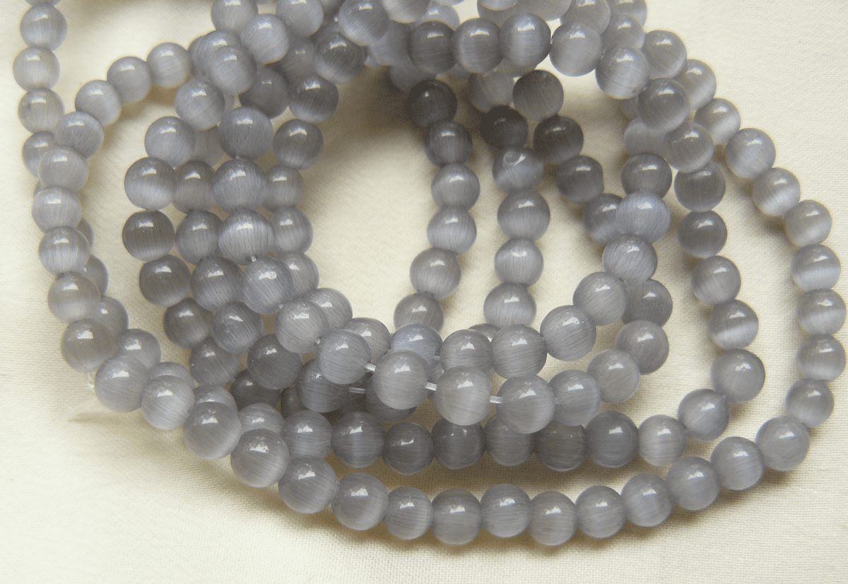 "Grey Cats Eye Fiber Optic Beads 16"" strands 4mm"