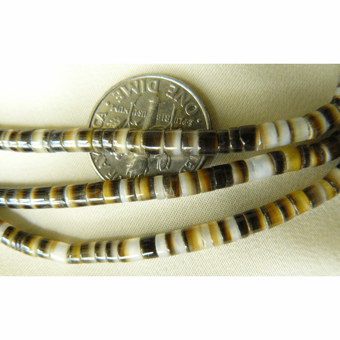 """Hammer hell Heishi beads 4mm brown and Ivory 16"""" Strands"""