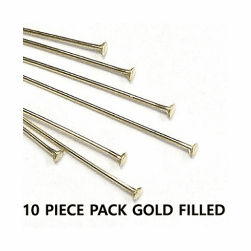 Head Pins 22 Ga. 10 Pieces Gold Filled  2 inches