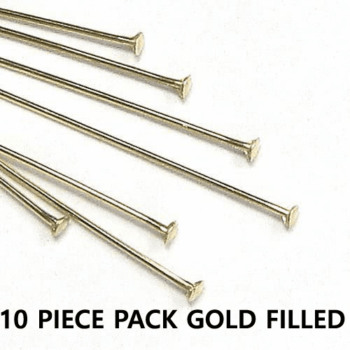 Head Pins 24 Ga.10 Pieces Gold Filled 2 inches