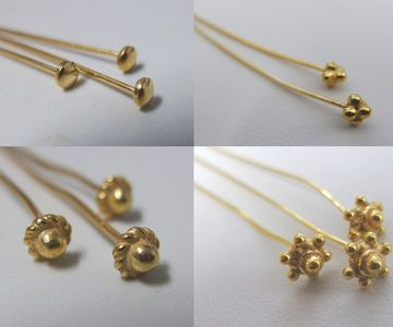 Head Pins and Eyepins - 24KT. Gold Over Copper-