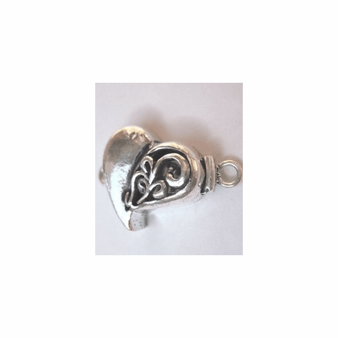 Heart-Shaped Box Clasp - 19mm - 2 Clasps - .999 Silver Over Copper