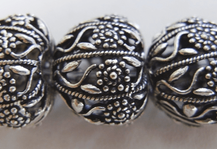 Heart-Shaped Hollow Bead 13mm 5 Beads .999 Silver Over Copper<br>SCBK4-8