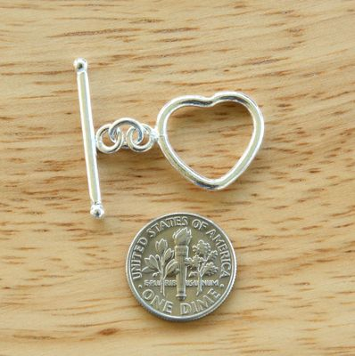 Heart Toggle - 15x18mm Heart w/ 25mm Bar - 6 Clasps - .999 Silver Over Copper