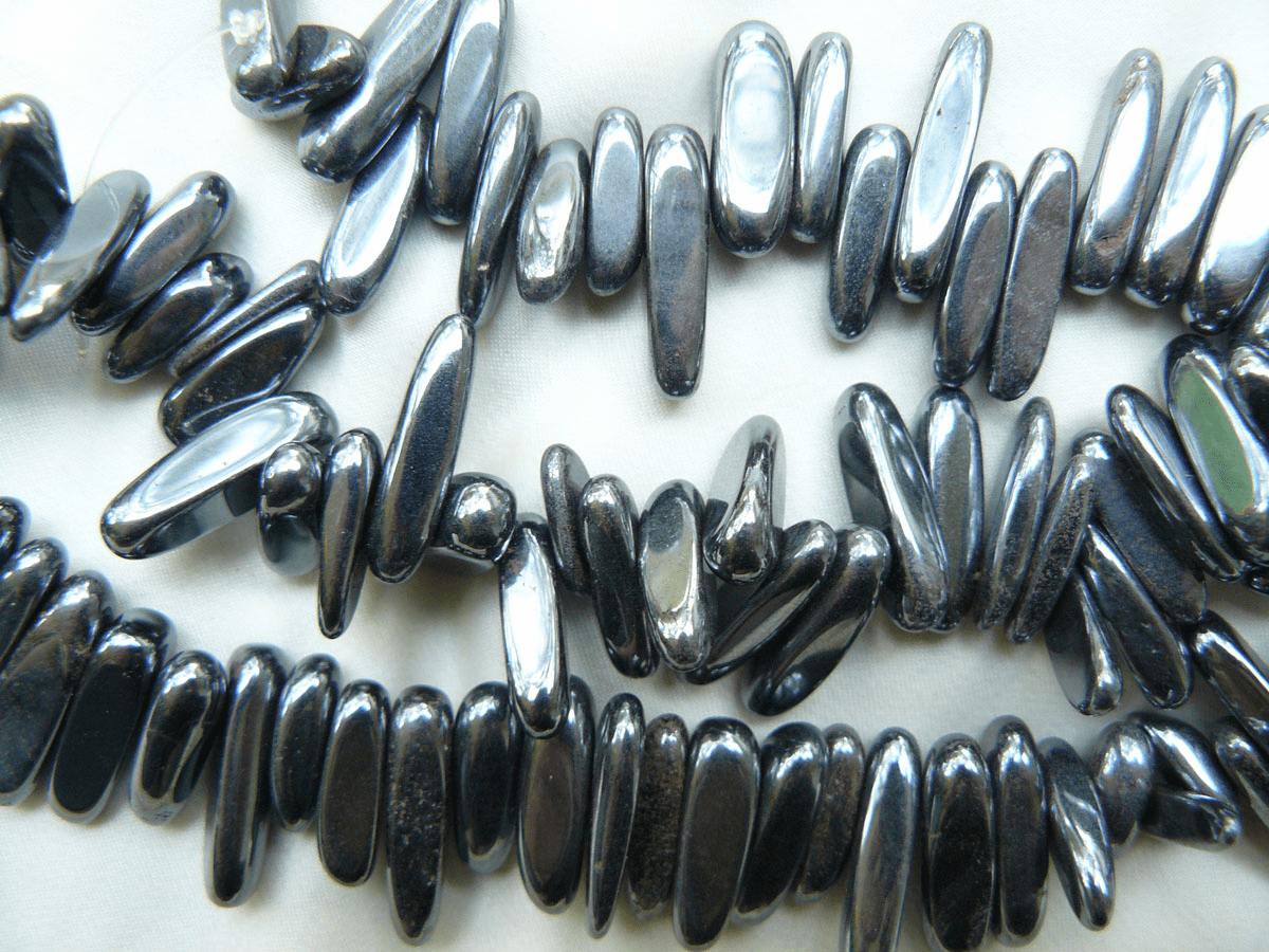 Hematite beads Top Drilled Shards with a smooth finish