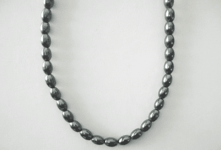 """Hematite - Rice Beads Completed Necklace 16"""" with clasp"""