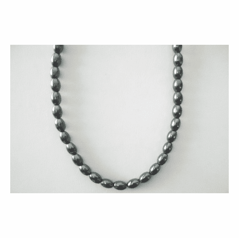"Hematite - Rice Beads Completed Necklace 16"" with clasp"