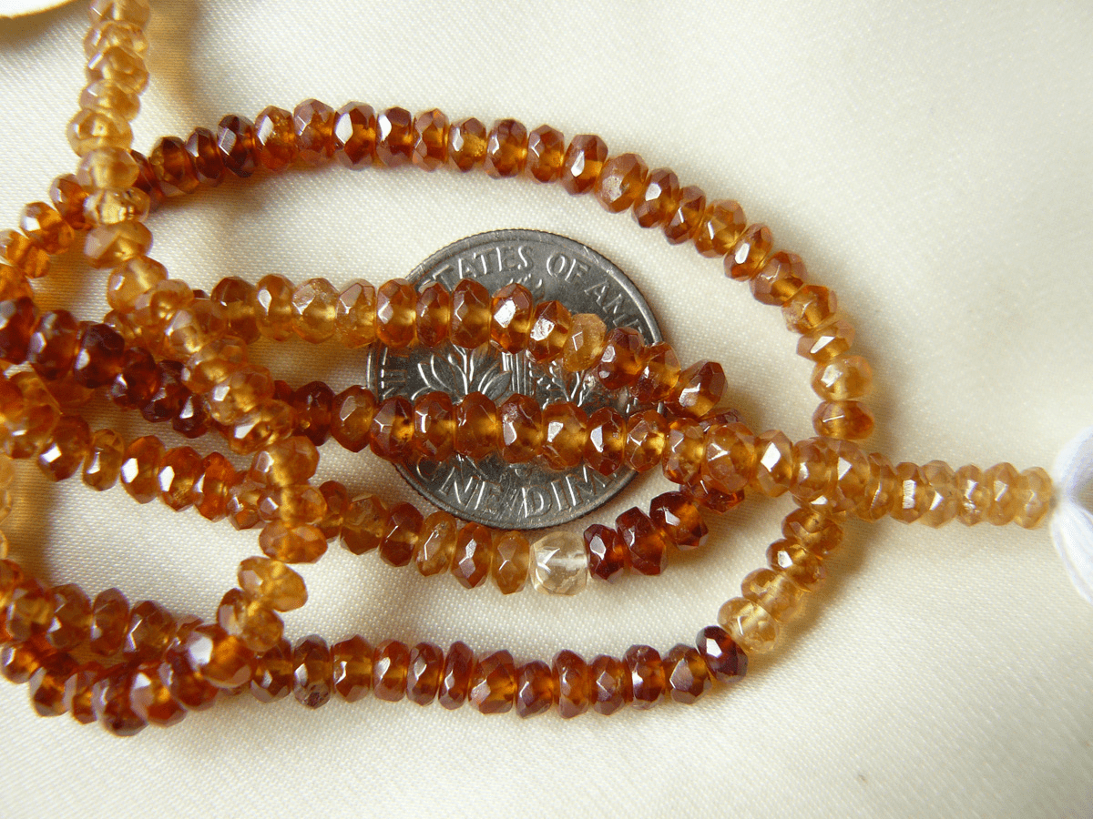 "Hessonite Garnet faceted beads 4mm full of sparkle 14"" strands"