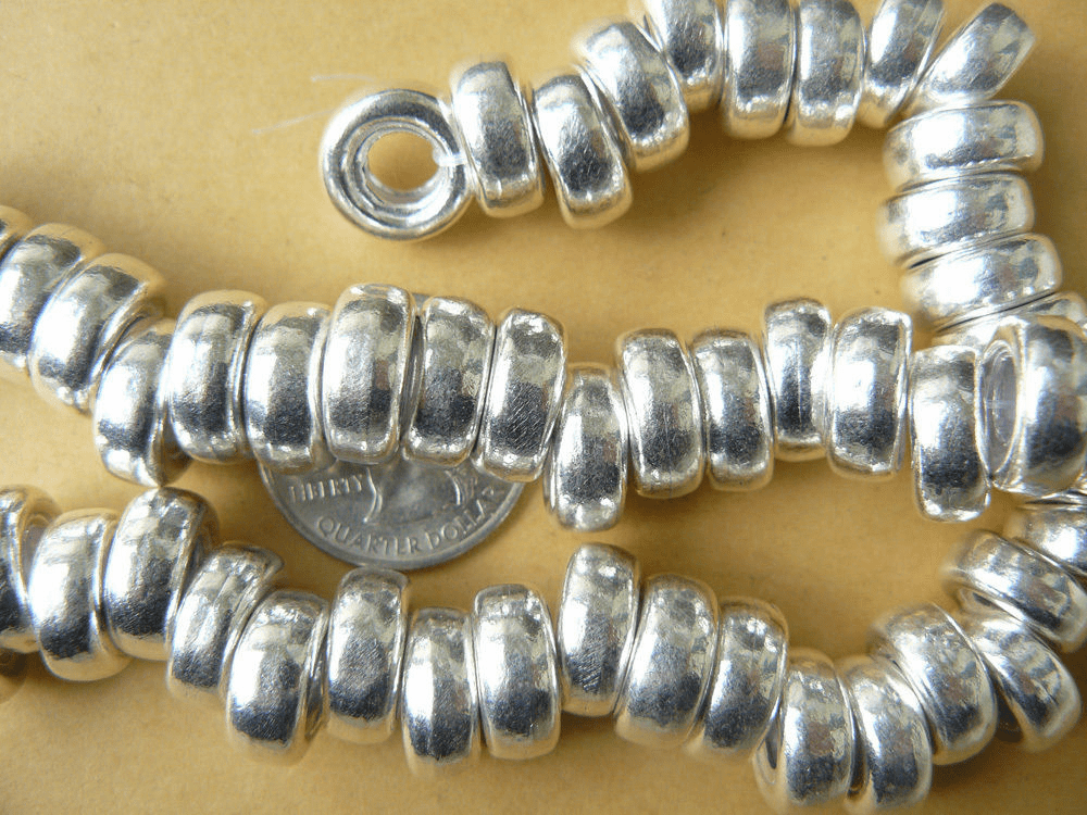 High Shine Large-Hole Silver bead 13x6mm 6mm hole.999 Pure Silver Over Copper